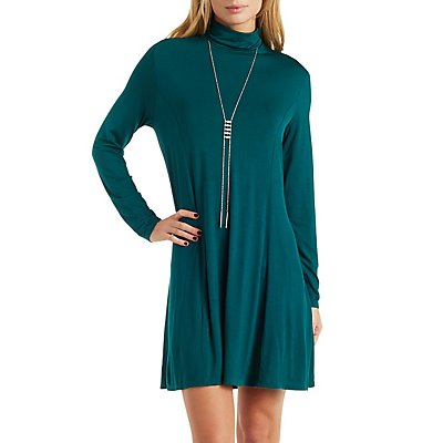 Jersey Knit Turtleneck Shift Dress