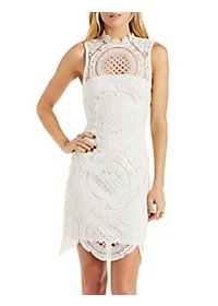 High-Neck Sleeveless Crochet Dress