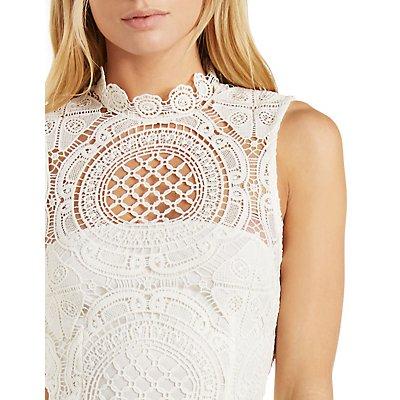High-Neck Sleeveless Crochet Dress