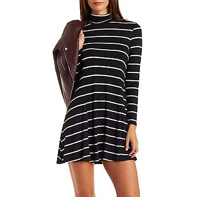 Striped Turtleneck Shift Dress