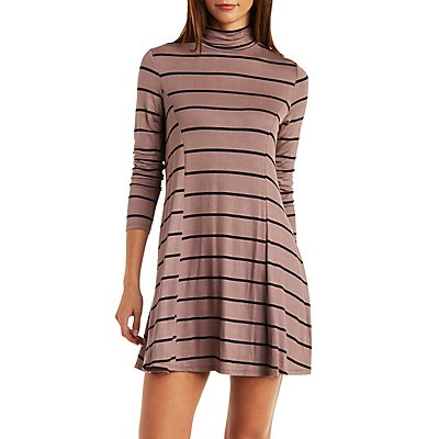 Striped Turtleneck Shift Dress