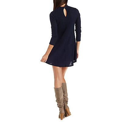 Jella C Mock Neck A-Line Dress with Cut-Out
