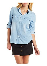 Button-Up Chambray Top with Pockets