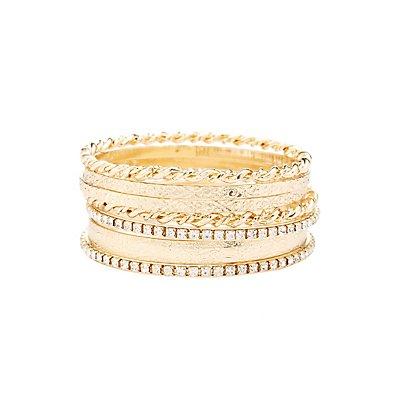 Rhinestone & Etched Bangle Bracelets - 7 Pack