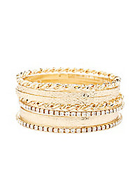 Rhinestone & Etched Bangle Bracelets - 7 Pack