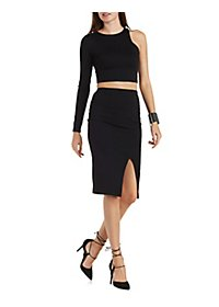 One Sleeve Crop Top & Midi Skirt Hook-Up