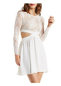 Lace Bodice Skater Dress with Cut-Outs