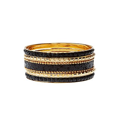 Glitter & Jewel Bangle Bracelets - 5 Pack