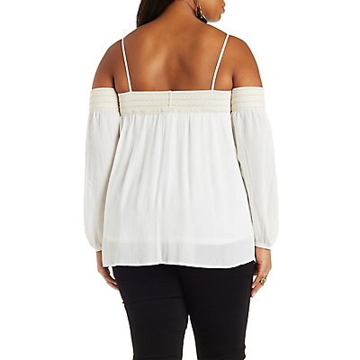 Plus Size Off-the-Shoulder Crochet Top