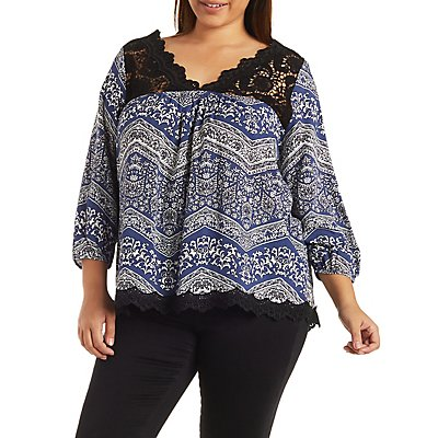 Plus Size Printed Top with Crochet Trim