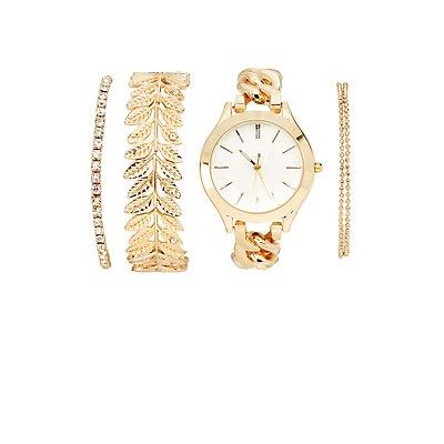 Watch & Bracelet Set - 4 Pack