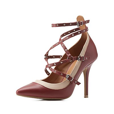 Caged & Studded Strappy Pointed Toe Pumps