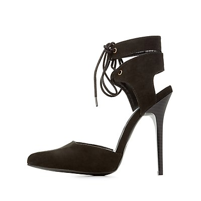 Lace-Up Ankle Cuff Pointed Toe Heels