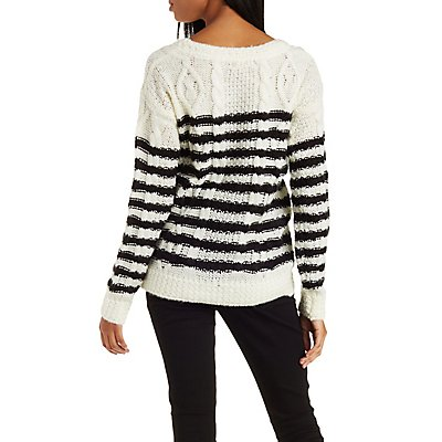 Striped Cable Knit Pullover Sweater