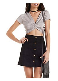 Ribbed, Marled & Knotted Crop Top