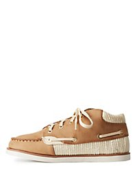 Bamboo Metallic-Trim Lace-Up Sneakers
