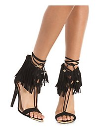 Qupid Fringed Ankle Cuff Dress Sandals