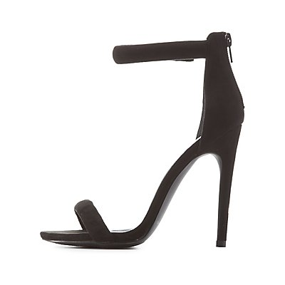 Qupid Single Sole Ankle Strap Heels