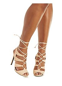 Qupid Embossed Lace-Up Sandals