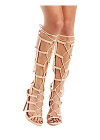 Qupid Caged Gladiator Dress Sandals