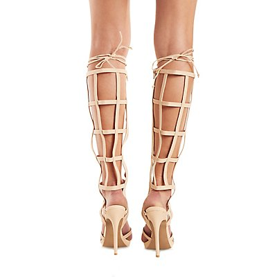 Qupid Caged Gladiator Dress Sandals