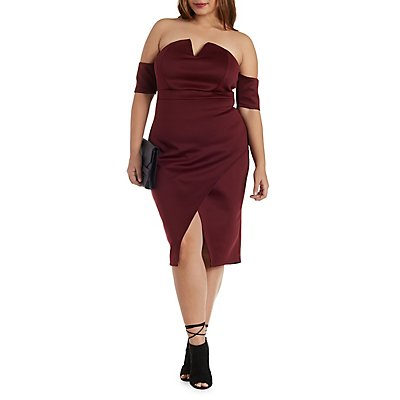 Notched Off-the-Shoulder Asymmetrical Dress