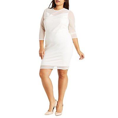 Plus Size Mesh Yoke Bodycon Dress