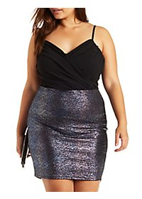 Plus Size Surplice Shimmer Dress
