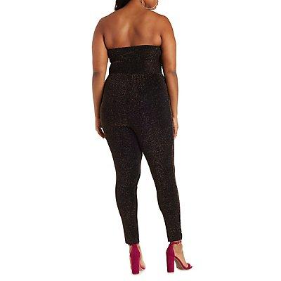 Plus Size Strapless Shimmer Jumpsuit
