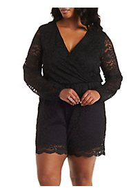 Plus Size Surplice Lace Romper