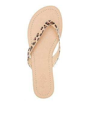 Leopard Print Strappy Thong Sandals