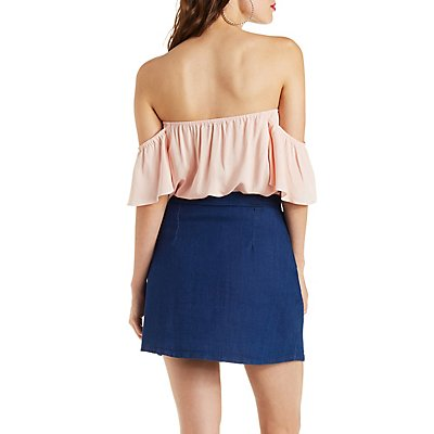 Off-the-Shoulder Flutter Top