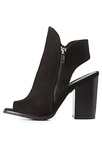 Peep Toe Sling Back Booties