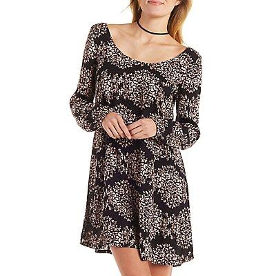 Motif Printed Shift Dress
