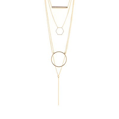 Geometric Shape Layering Necklaces - 4 Pack