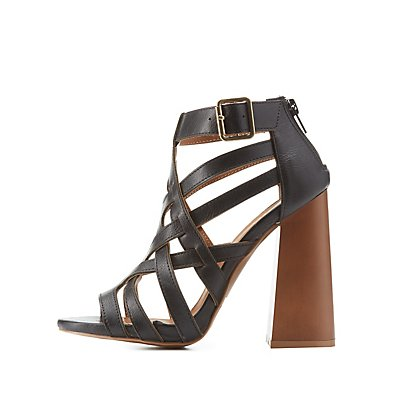 Qupid Chunky Caged Sandals