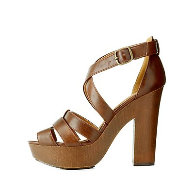Qupid Thick Strappy Chunky Platform Heels