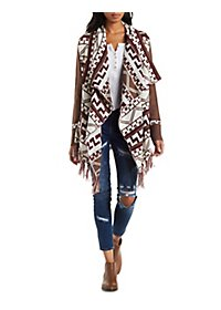 Patterned Cascade Cardigan with Fringe
