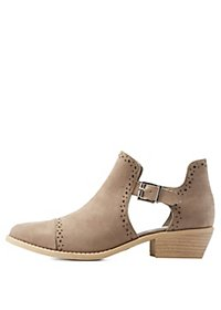 Qupid Perforated Cut-Out Cap-Toe Booties