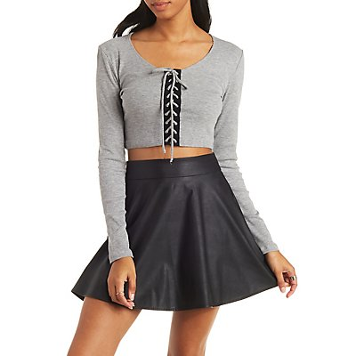 Lace-Up Ribbed Crop Top