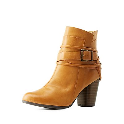 Qupid Belt-Wrapped Chunky Heel Ankle Booties