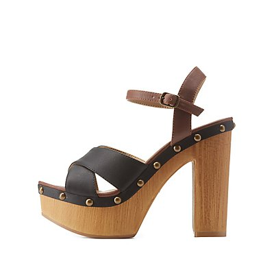 Color Block Wooden Platform Heels