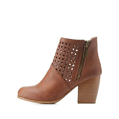 Qupid Laser Cut-Out Chunky Heel Booties