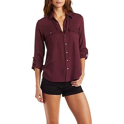 Drapey Button-Down Military Shirt