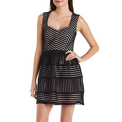 Mesh Striped Skater Dress