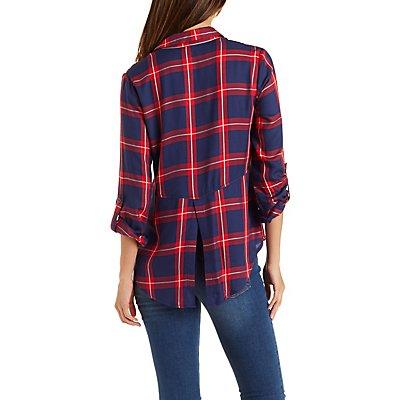 Flyaway Hem Plaid Button-Up Shirt