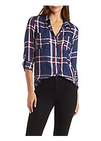 High-Low Plaid Button-Up Shirt