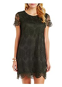 Short Sleeve Crocheted Lace Shift Dress