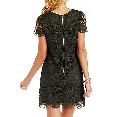 Short Sleeve Crocheted Lace Shift Dress