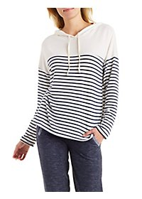 Striped Sweater Knit Pullover Hoodie